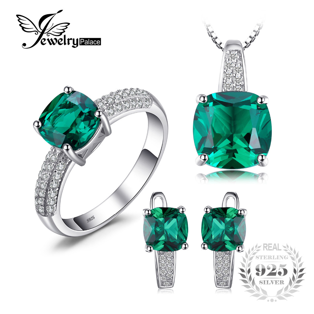 JewelryPalace 8 7ct Emerald Ring Pendant Clip Earrings Jewelry Set 925 Sterling Silver Fine Jewelry 45cm