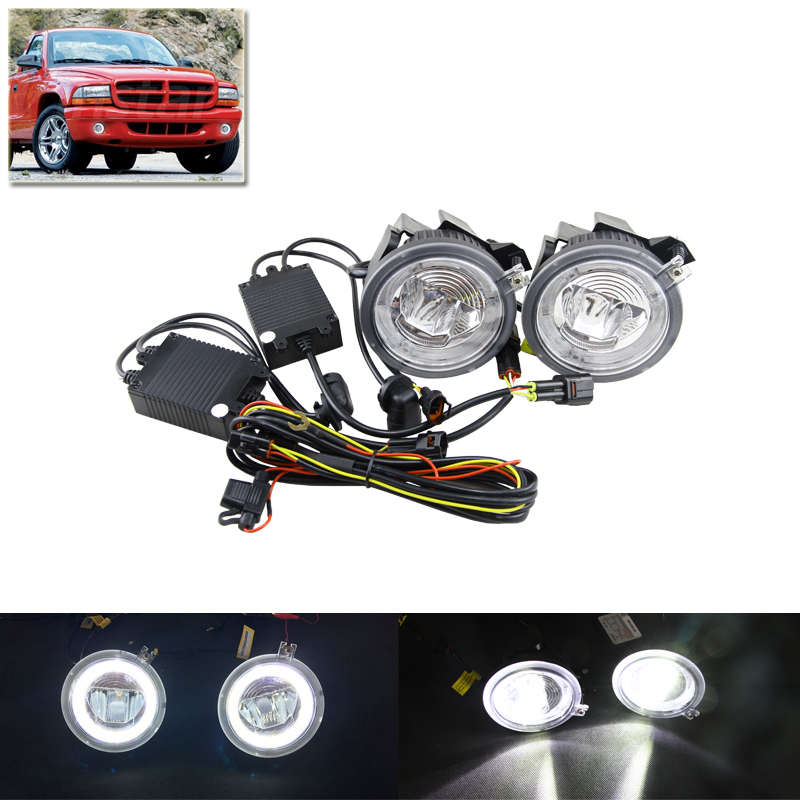2-In-1 Led Front Fog Lights W/ Guide DRL Daylights Halo Ring For Dodge Dakota 01-04 For Dodge Durango 01-03 Xenon White Car Lamp for opel astra h gtc 2005 15 h11 wiring harness sockets wire connector switch 2 fog lights drl front bumper 5d lens led lamp