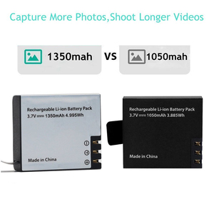 Image 2 - 1350mah Action Camera Battery Dual Charger for Eken h9r/H9 h8R/H8 V8S H5S H6S H7S SJCAM SJ4000 SJ5000 M10 GITUP DBPOWER Thieye