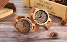Men Wooden Wrist Watch Nature Sport Bamboo Simple New Arrival Genuine Leather Band Strap Quartz Watch