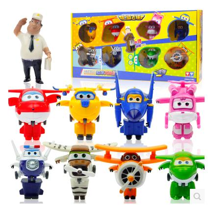 Free shipping 9pcs/lot Super Wings Mini Planes Transformation Robot Action Figures Mini Super Wings toys for kids набор канцелярский planes