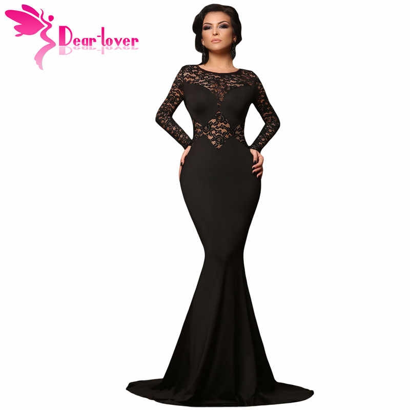 2acd7d8d63 ... Dear Lover 2017 Evening Black Long Lace Sleeve Mermaid Maxi Dress Sexy  Party Gowns Robe De ...
