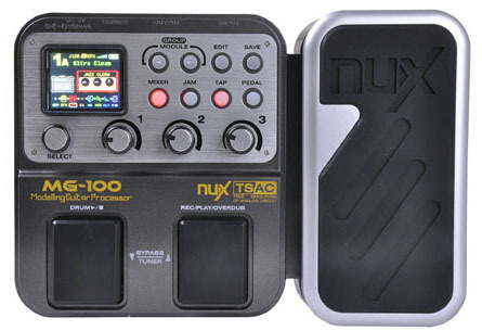 NUX MG100 Electric Guitar DSP Multi Effects Pedal 58 Effects 6-band graphic EQ Built-in drum machine 72 presets EFX 1