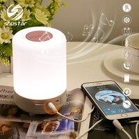 LED colorido recargable noche luz Bluetooth altavoz lámpara inalámbrica para mesa lámpara de noche para dormitorio puede establecer una alarma