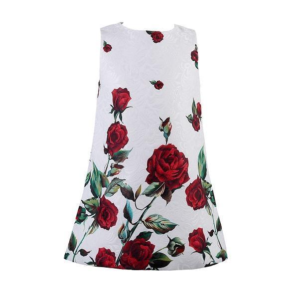 Платье для маленьких девочек Розовое Цветочное платье принцессы трапециевидной формы в европейском стиле для девочек Стиль для маленьких ...