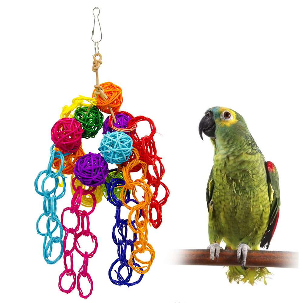 font b Pet b font Supplies Rope Funny Colourful PU Leather Hanging Bird Toy Safe