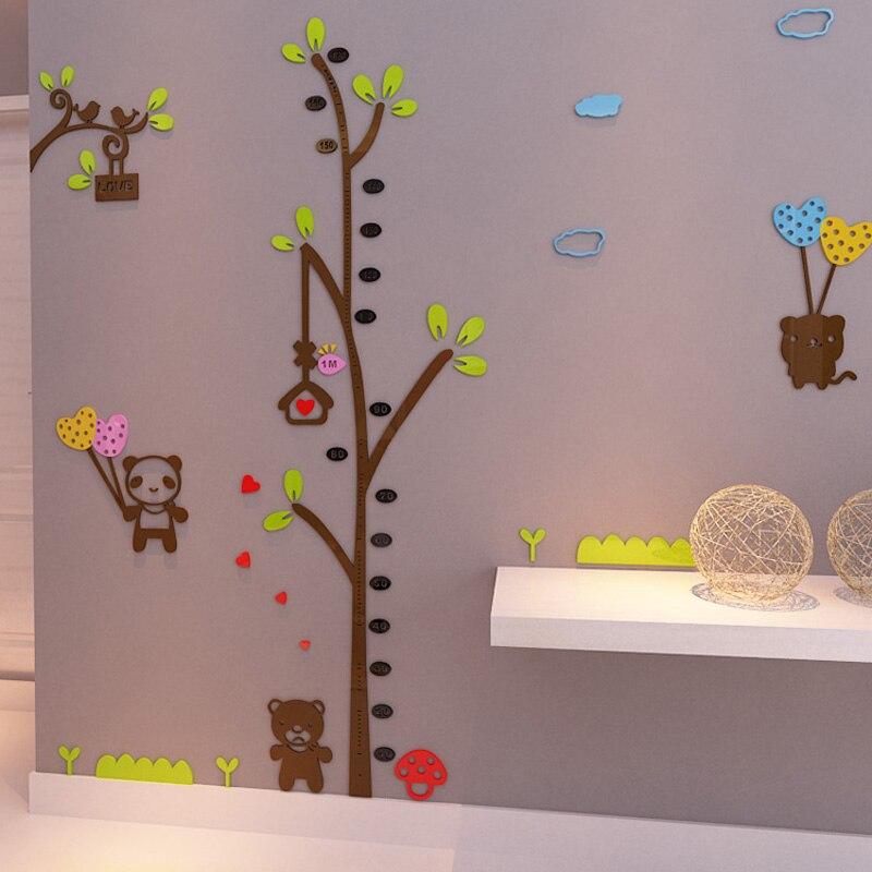 cartoon panda bear tree design 3d acrylic wall stickers kids room
