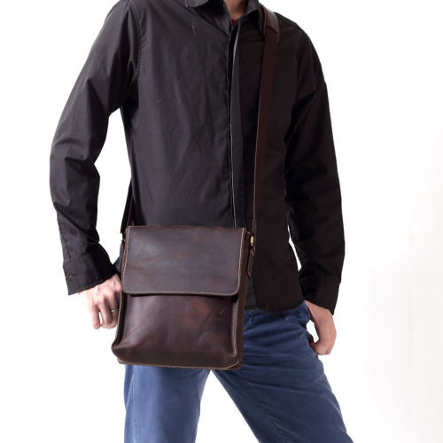 NEWEEKEND 8069 Genuine Leather Men's Bags Small Shoulder Messenger Crossbody Bags Casual Small Flap iPad Bag Case for Man