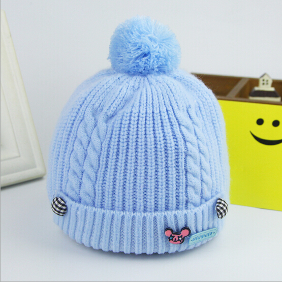 Newborn baby caps imitation cashmere ball warm children kids hat autumn winter infant caps