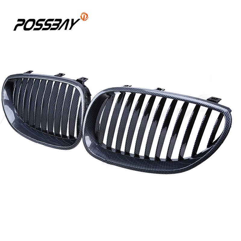 Possbay Carbon Fiber Style Auto Mobil Depan Ginjal Pemanggang Panggangan untuk BMW E60/E61 M5 2004-2011 Mobil styling Auto Pusat Dekorasi