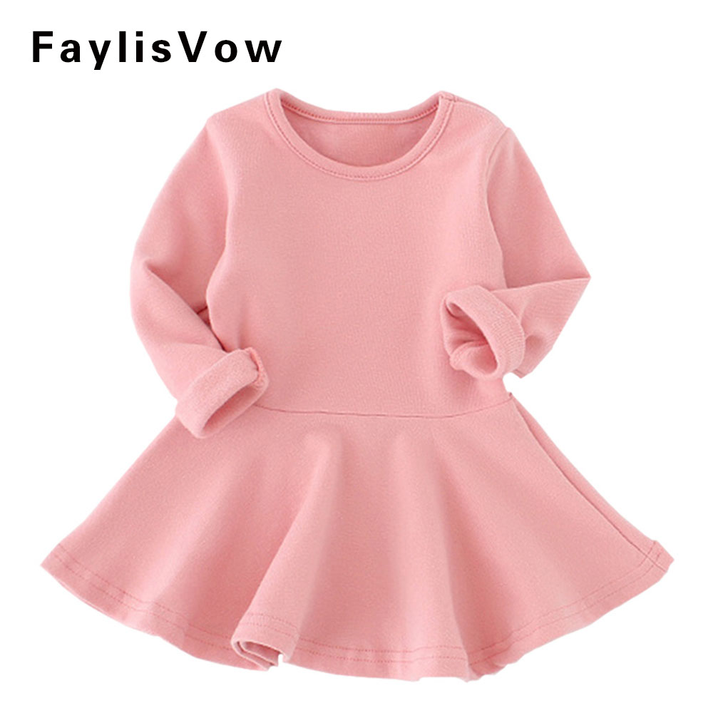 Baby Girl Solid Cotton Dress Fashion Long Sleeve A Line