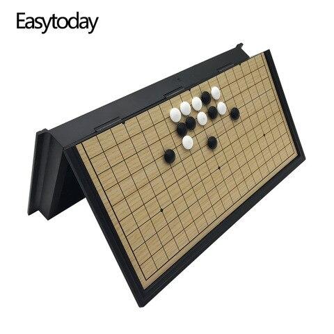 Tabuleiro de Xadrez Magnético de Dobramento de Alta Peças do Jogo de Xadrez Preto e Branco Jogos do Presente Easytoday Jogo Qualidade Peças Weiqi go ir