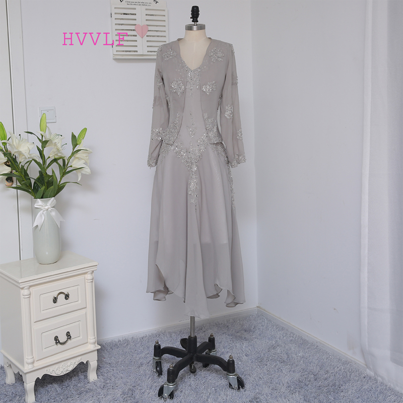 Silver 2019 Mother Of The Bride Dresses Sheath Tea Length Chiffon Appliques Long Brides Mother Dresses For Weddings With Jacket