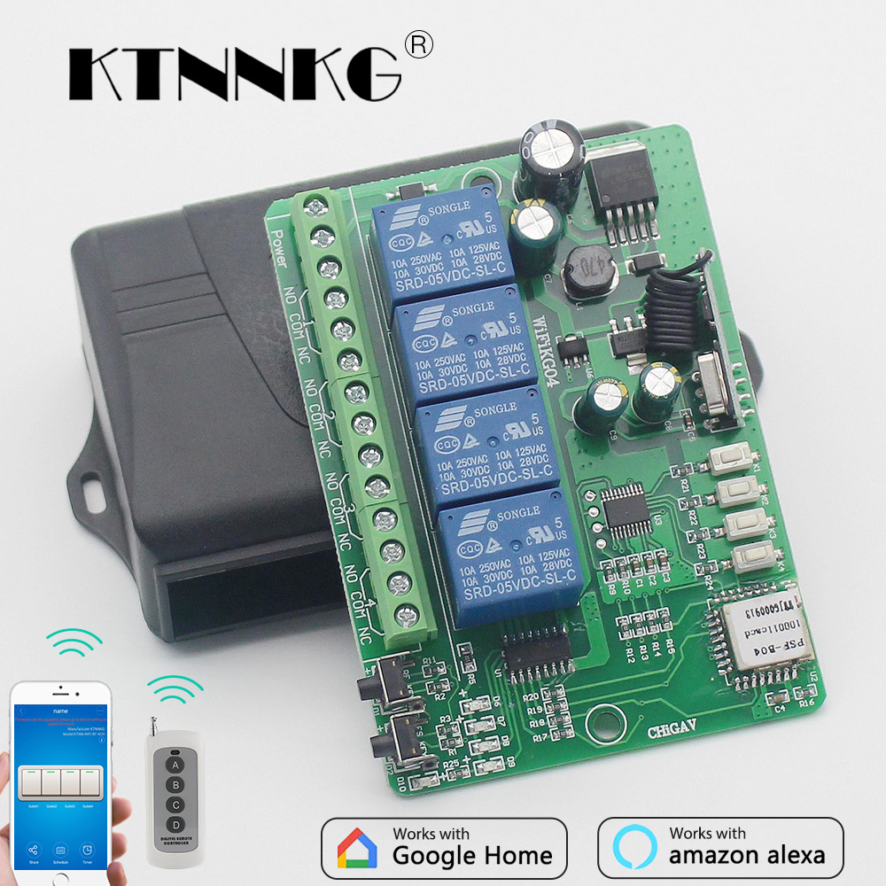 Wifi Switch 1ch Ac Dc 7 36v 10a Home Automation Relay Module 433mhz In Addition Wi Fi On Pcb Circuit Diagram 12v 24v 4ch Smart Wireless Receiver And