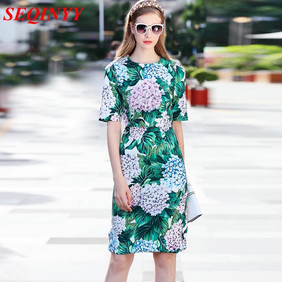 Brief Fashion Hydrangea Floral Blooming Printed Pencil Dress 2017 Autumn Short Sleeve Back Slit Women's Sheath Green Dresses tiny floral back slit pencil dress