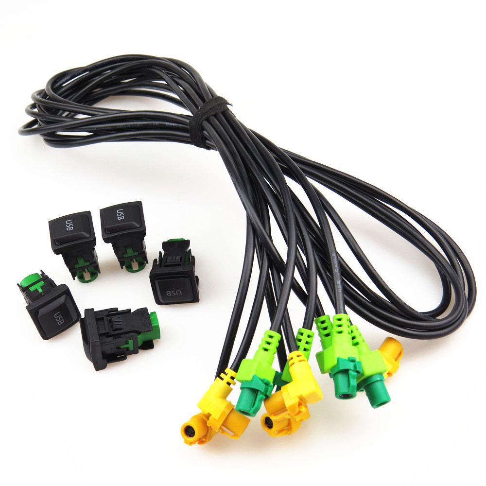 FHAWKEYEQ RCD510 RNS315 RCD310 <font><b>5</b></font> Set <font><b>USB</b></font> Interface Switch Plug+Cable Harness <font><b>Adapter</b></font> Wire For <font><b>VW</b></font> Jetta <font><b>Golf</b></font> Scirocco 5KD035726A image