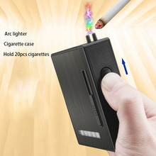 Nueva caja de cigarrillos USB Arc mechero electrónico sin llama a prueba de viento encendedor estuche para cigarrillos 20 piezas cigarrillos funda, soporte