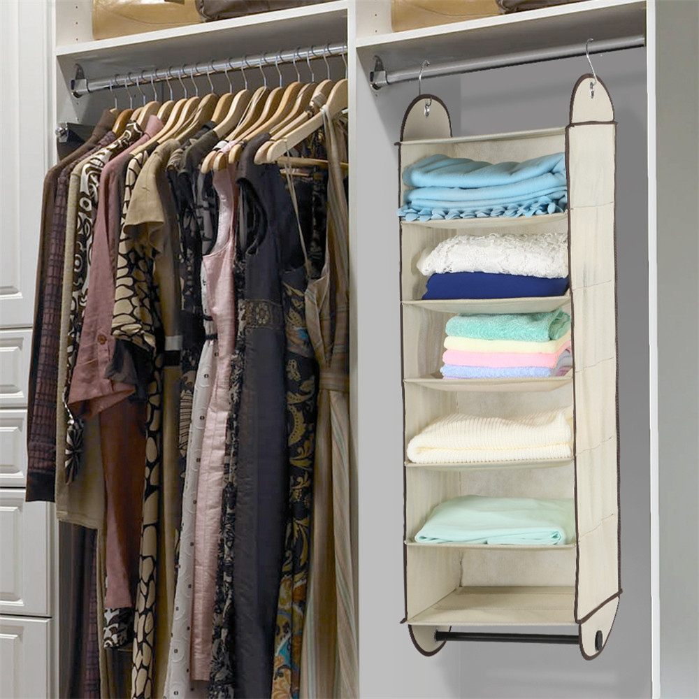 Finether Foldable 6 Shelf Fabric Hanging Closet Organizer For Accessory And  Clothes Storage With Garment Rod Closet Organizer In Storage Holders U0026  Racks ...