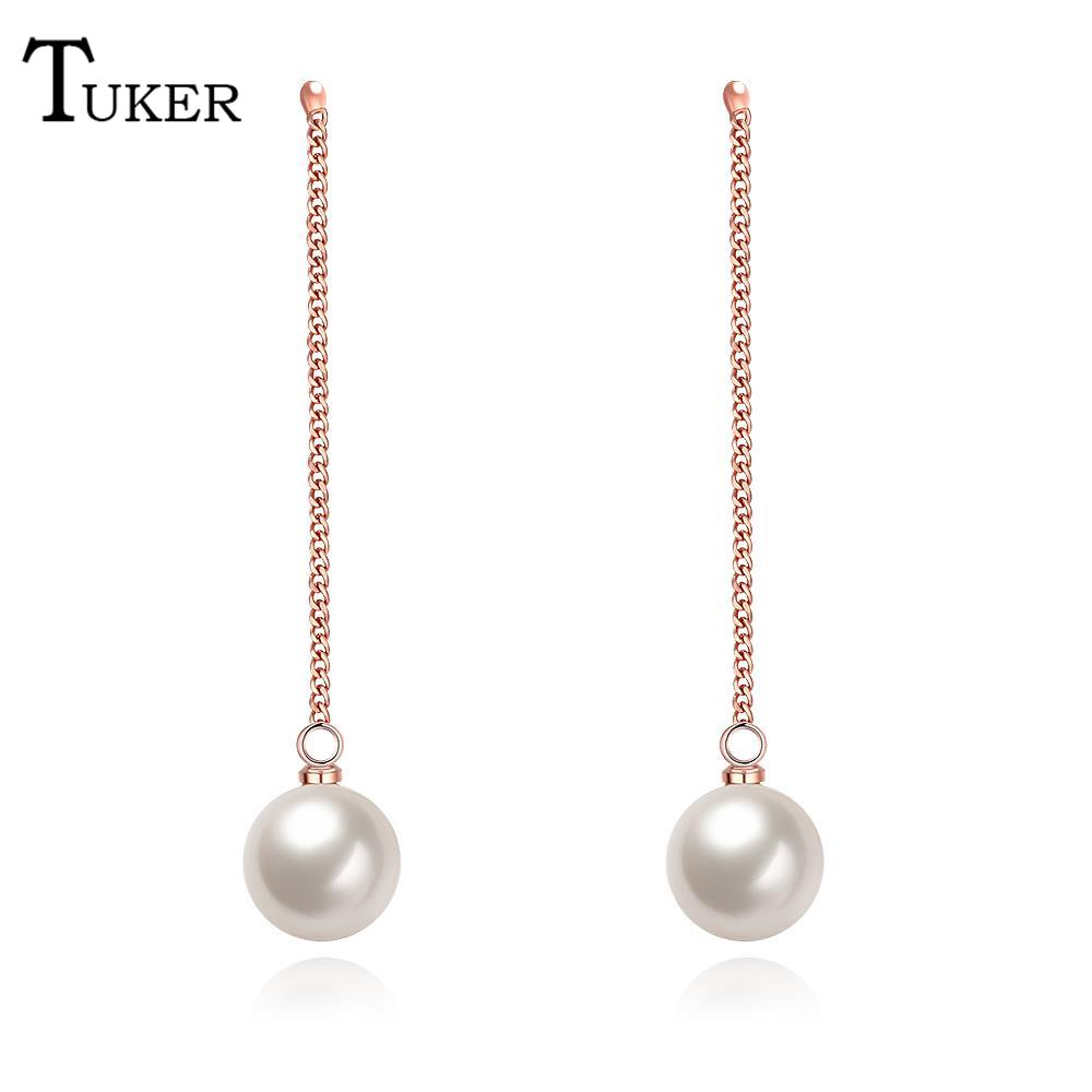 Tuker Female Dangle Earrings Charm Flower Pattern Pearl Long Vintage Drop  Earring For Women Wedding Party