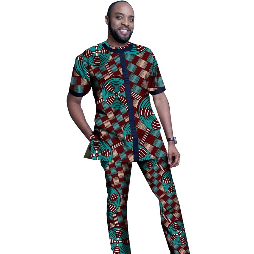 African Print Clothing Men Tops+Trousers Sets Shirts And Pants Festive Costume Africa Style Men Set Fashion Clothes Customized