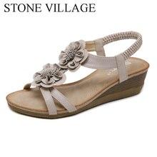Zapatos de mujer de estilo étnico de STONE VILLAGE 2019, Sandalias de tacón de cuña bohemios con flores, sandalias de mujer de talla grande, zapatos de playa