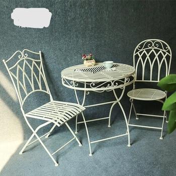 Zestaw ogrodowy meble ogrodowe składane meble ogrodowe meble ogrodowe muebles de jardin 1 stół + 2 krzesła 3 sztuk zestaw nowy tanie i dobre opinie Ecoz Nowoczesne Ogród zestaw Metal iron
