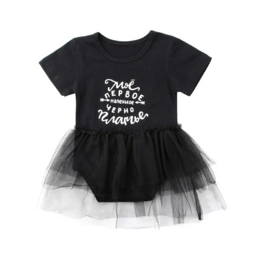 Toddle Infant Baby Girls Cotton Bodysuit Jumpsuit Shortsleeve Cotton Top Tulle Tutu Skirt Summer Outfits Sunsuit Clothes 0-24M
