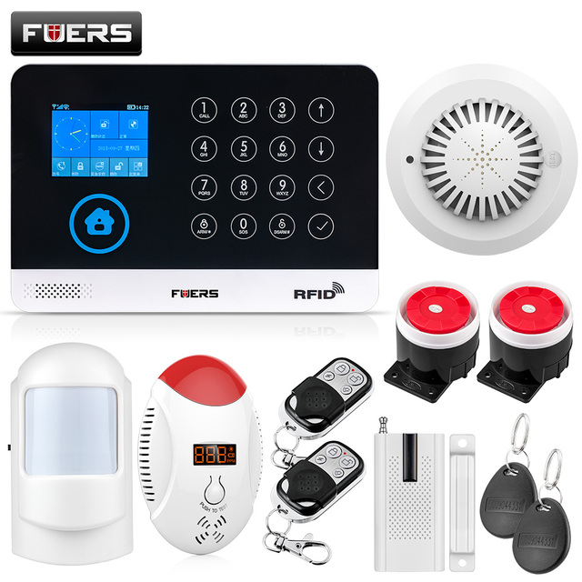 Special Price FUERS WG11 433MHz Wireless GSM Home Alarm System LCD Touch Screen WiFi GSM Siren Security System RFID Motion PIR Smoke Sensor