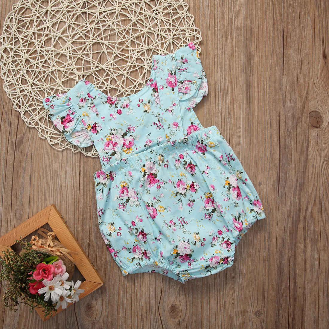 Baby Mädchen Blume Rüsche Fliegen Sleeve Body