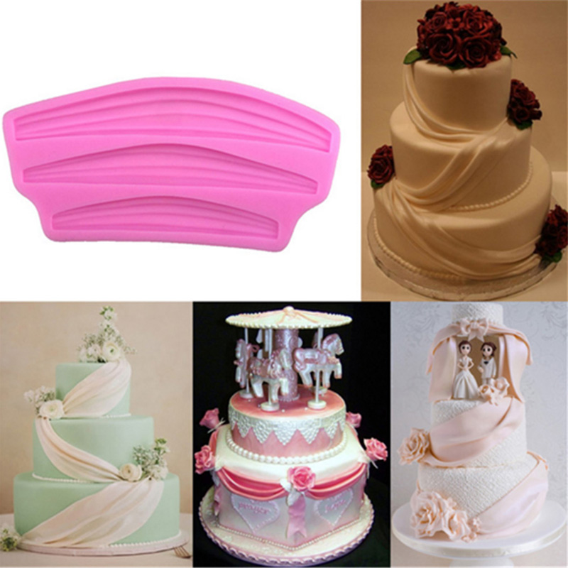 Cake Border Silicone Molds Ribbon Curtain Embossed Mold