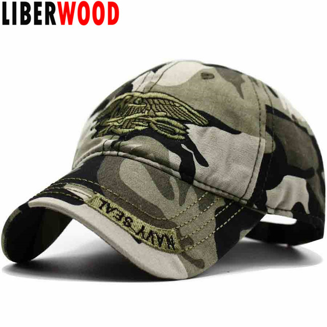 38c5cc63cac LIBERWOOD United States US USNS USMC Navy army Special Forces Insignia NAVY  Seal hat Eagle Trident Camo Camouflage Hat Cap