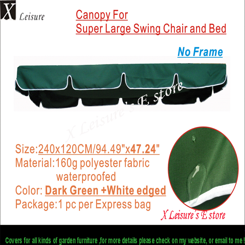 Canopy for large size swing chair and bed Water proofed replacement canopy 94.49x47.2/240x120cm
