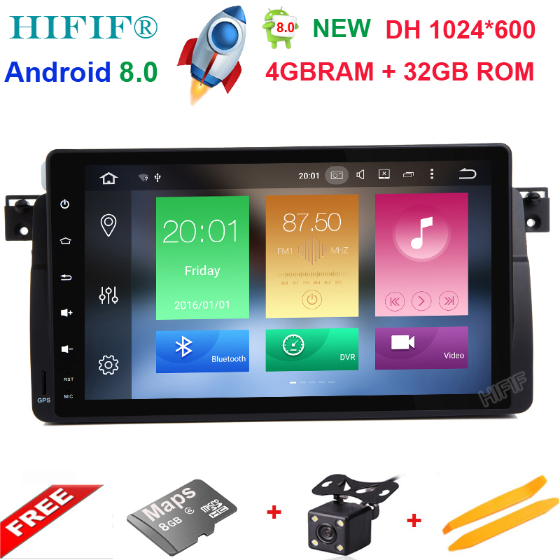 HIFIF 9 HD 1 Din 1024*600 4GB 32GB 8 Core Android 8.0 PC Car DVD GPS Radio For BMW 3 M3 E46 318i 320i 325i 328i Rover 75 MG ZT image