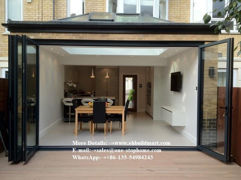 Porte pliante en aluminium de conception de porte principale de maison intérieure moderne, portes extérieures de Patio de conception de porte de bi-pli, porte en verre de maison