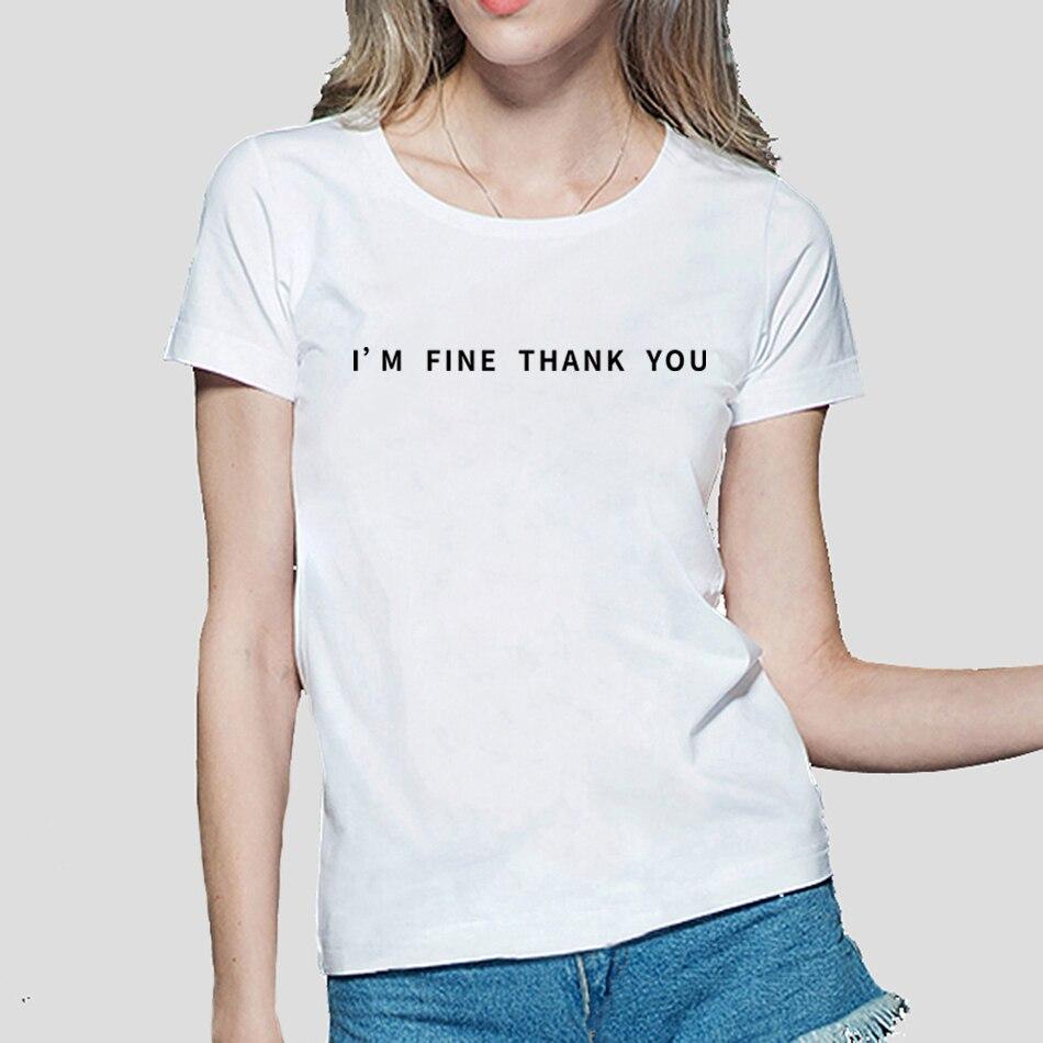 ESTOY BIEN GRACIAS las mujeres venta caliente del verano de algodón camiseta Casual hipster kawaii harajuku divertido marca camiseta femenina ropa punk