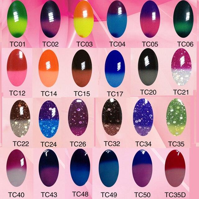 12pcs/lot TC Changing thermal magic mood Colors UV LED gel nail ART polish Bluesky