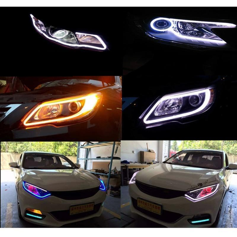 TOFOCO 1 Pcs LED DRL Strip Car styling Lights 30 45 60 85 cm Daytime Running Light Universal Flexible Soft Tube Guide Car LED
