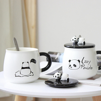 16 OZ 480 ml Ceramic Panda Mug coming with Lid and Spoon for Coffee Milk Gift for Girls Cute Cup DEC364