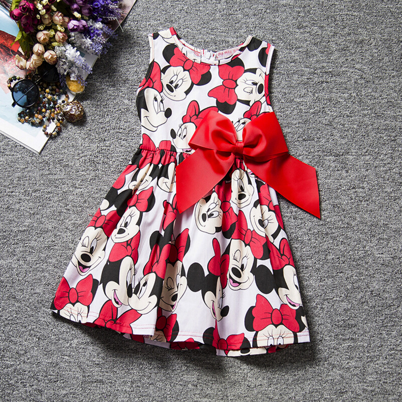 Baby Girl Dress Print Minnie Mouse Dress Princess Sleeveless Flower Dress Girl Clothes Fashion Kids Baby Minnie Costume simba пупс minnie mouse