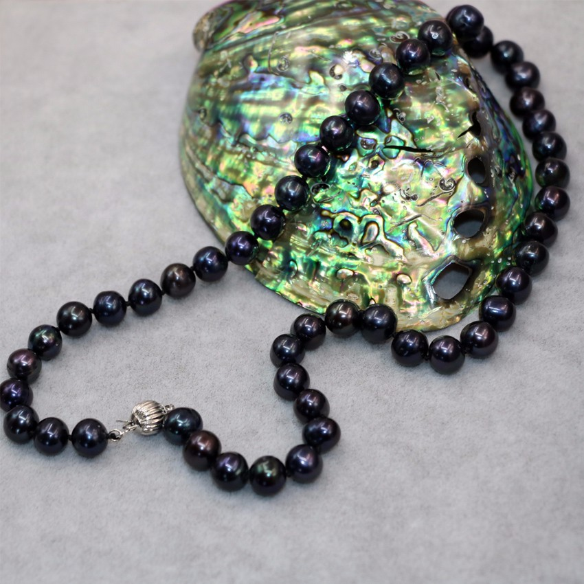 9ddf013de747 venta caliente natural cultivadas de agua dulce negro perla aprox ronda 9-10mm  collar de perlas regalos de bodas joyería de las mujeres B18inch B3021