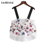 La Tee Da 2017 New Embroidery Crop Tops Women Floral Waistcoat Tank Tops Lady Embroidery Camisole