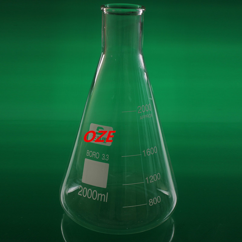 1PCS Narrow Neck Borosilicate Glass Conical Erlenmeyer Flask For Laboratory 2000ML 500ml ptfe erlenmeyer flask teflon conical bottle chemical labware
