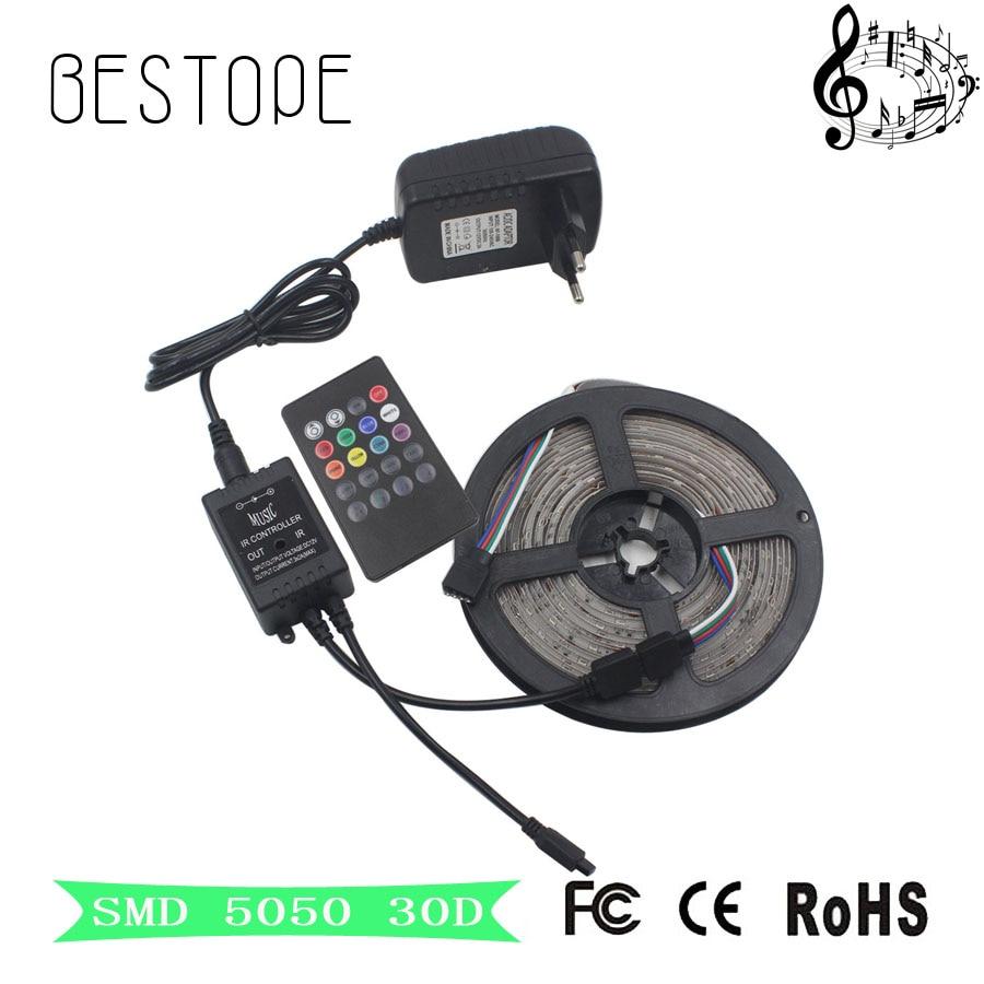 5M 10M RGB LED Strip 5050 non waterproof 150 LEDs RGB tape ribbon 30leds/m tiras LED+MUSIC IR Remote controller Free shipping