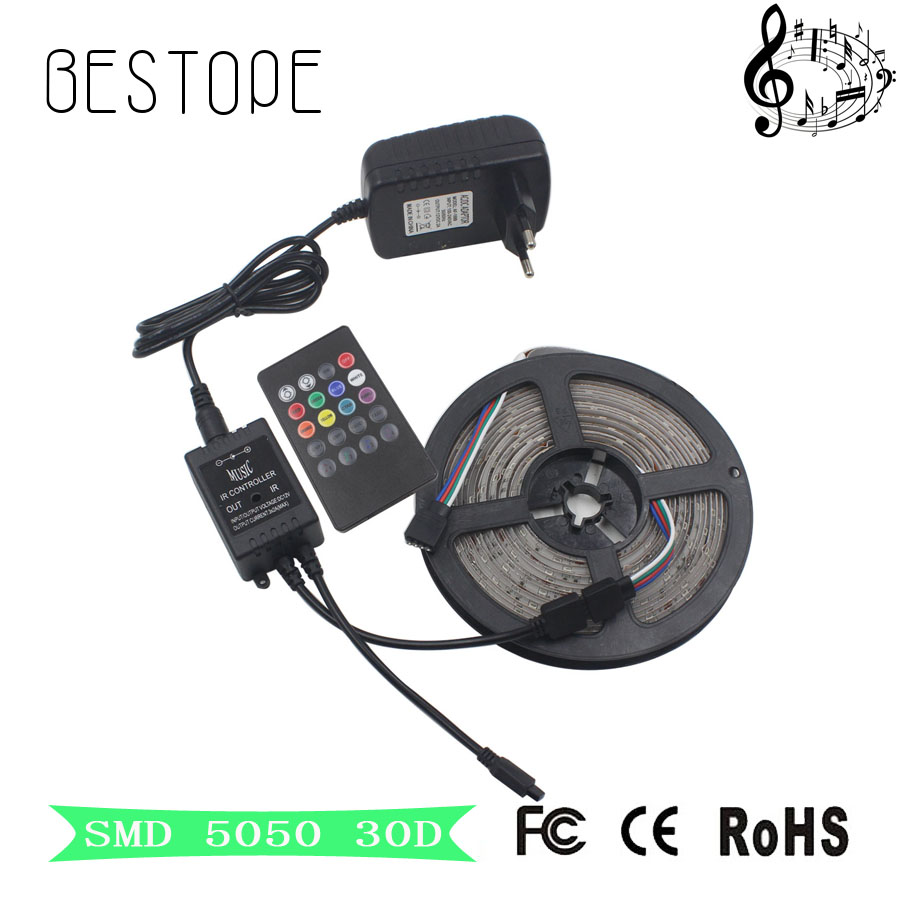 5M 10M RGB LED Strip 5050 non waterproof 150 LEDs RGB tape ribbon 30leds/m tiras LED+MUSIC IR Remote controller Free shipping