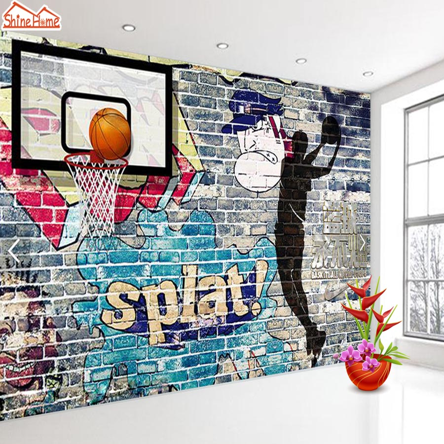 ShineHome-Large Custom Wallpapers 3d Sports Basketball Exercise Gym Bar Cafe Keep Fit Room Shop Room Murals Wall Paper Rolls худи print bar hu notes from the underground