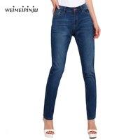 Jeggings Jeans Para Mujeres Pantalones Vaqueros de Cintura Alta 2018 de Las Señoras de La Vendimia pantalones vaqueros del Estiramiento Suave Pantalón de Mezclilla Azul Pantalones Lápiz Delgado Más tamaño