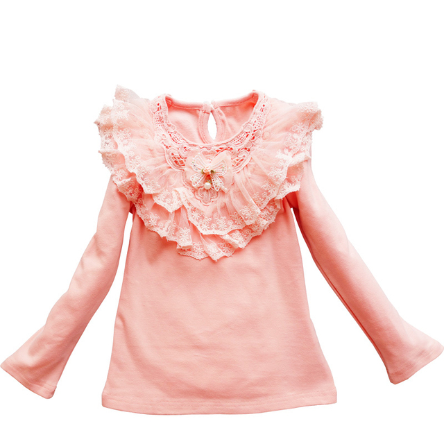 e478054bb Camisas de las muchachas de la Escuela de Encaje Blusas Para Niñas 3-11 T