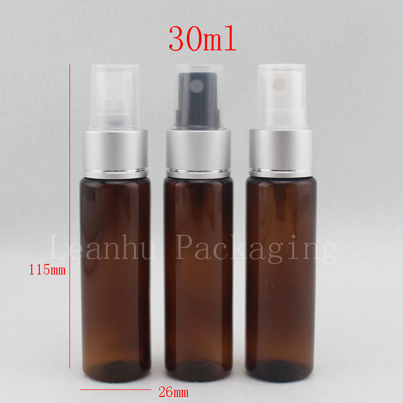 30ml X 100 brown color plastic bottle with perfume aluminum sprayer pump , 1oz empty cosmetic packaging bottles with spray china