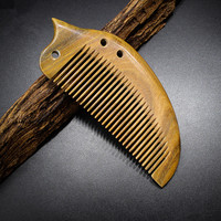 2017 New High Grade Green Sandalwood Comb Fine Whole Wood Wide Tooth Hairdressing Small Comb Natural