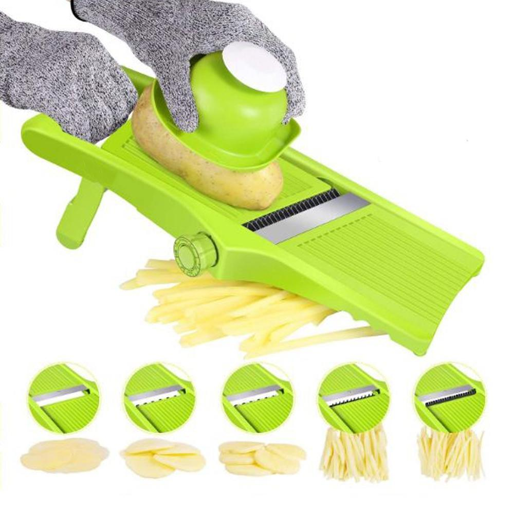 Vegetable Cutter Adjustable Vegetable Slicer Stainless Steel Planing Sliced Shredded Blades Peeler Potato Carrot Kitchen Tools